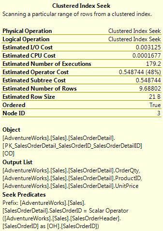 Clustered Index Seek tooltip